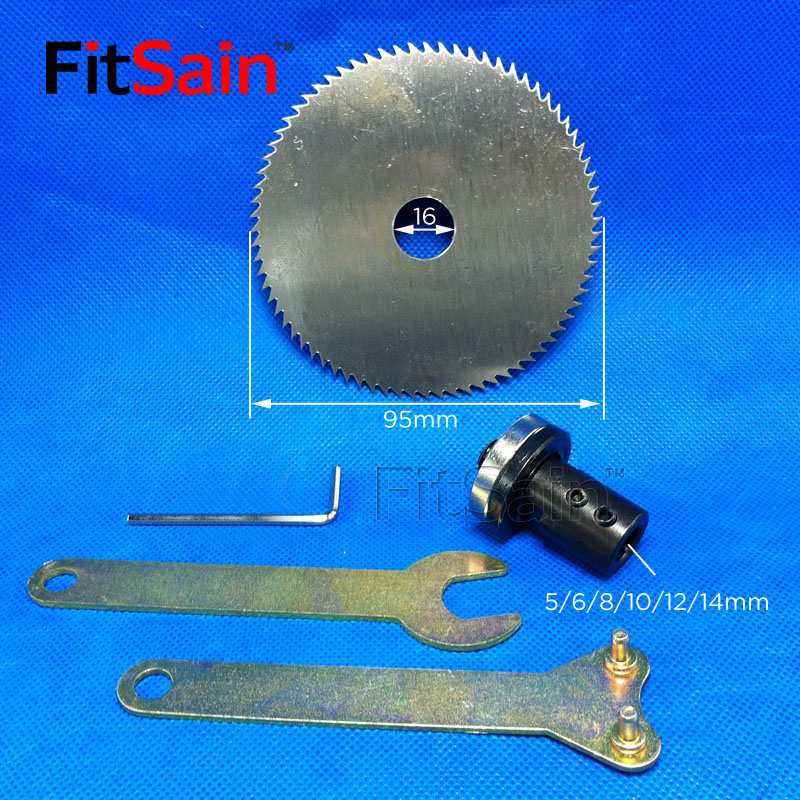 """FitSain-mini piła stołowa 4 """"95 mm tarcza tnąca do drewna Adapter Adapter Korbowód do wału silnika 5 mm / 6 mm / 8 mm / 10 mm / 12 mm / 14 mm"""