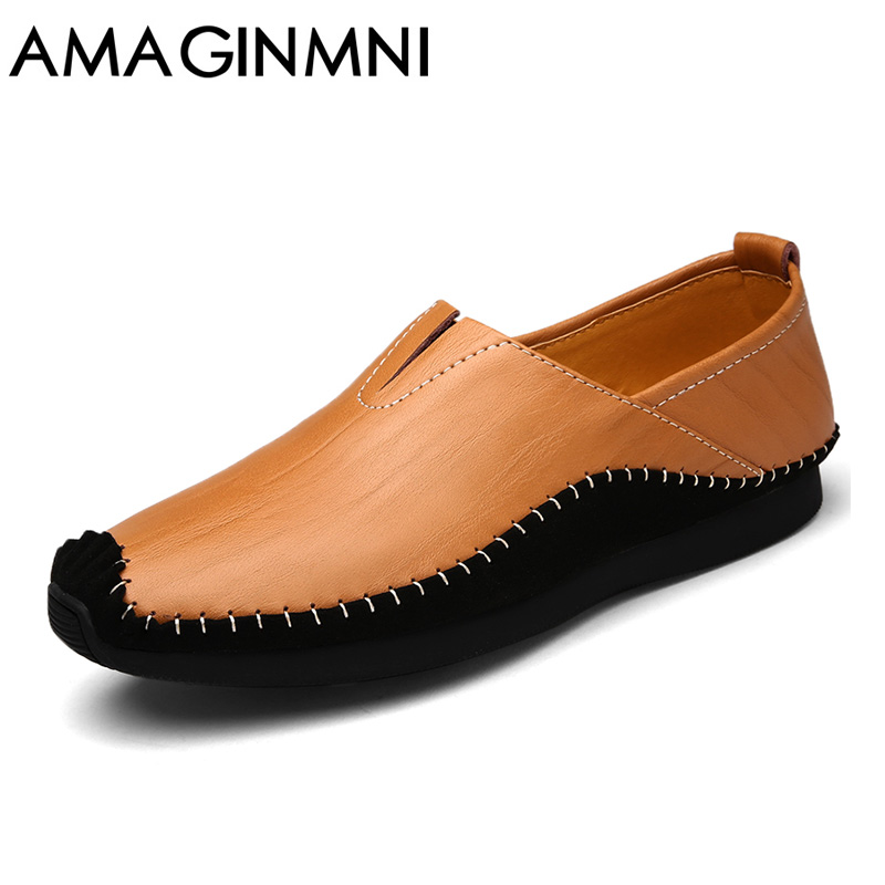 AMAGINMNI Man Moccasin Breathable Men's Loafers Designer Flat Soft Leather Shoe Fashion Boat Shoes Luxury Brand Hot Sales high quality genuine leather loafers men breathable casual shoes soft men flats fashion boat shoes lazy loafers man moccasin 2 5