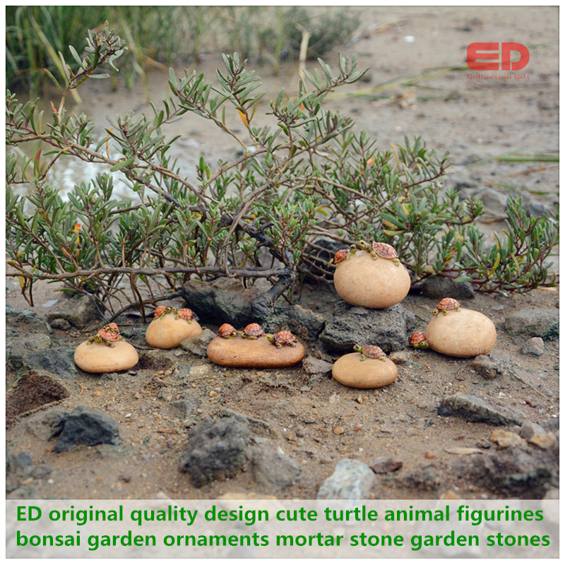 6pcs Seted Original Quality Design Cute Turtle Animal Figurines Bonsai Garden Ornaments Mortar Stone