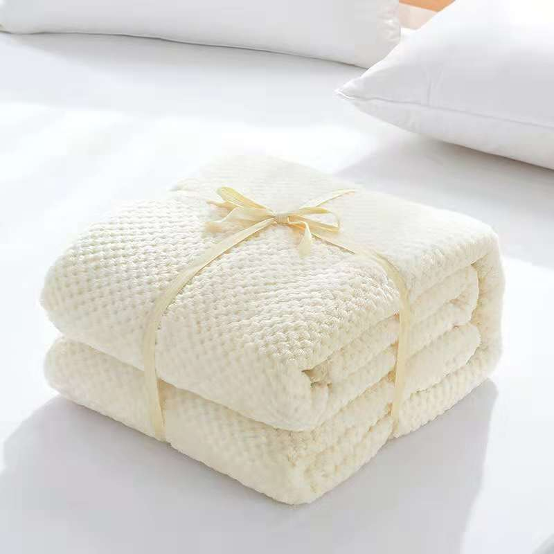 Wholesale Cream Brown Honeycomb Fleece Blanket throw Manta Sofa Bed Travel blankets Soft thick Plaids Bedspread