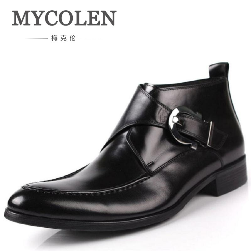 MYCOLEN Brand Genuine Leather Men Boots Black Pointed Toe Buckle Ankle Boots Party Shoes Men Motorcycle Boot Bota Masculino