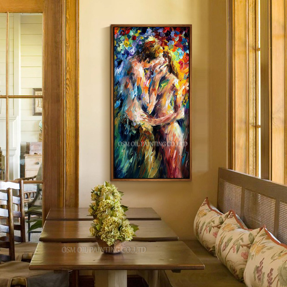 Alta habilidade artista artesanal de alta qualidade abstrato amante nu pintura a óleo sobre tela faca pintura sexy beijar pintura a óleo