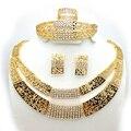 2016 Mujeres de La Manera de Dubai Oro Conjuntos de Joyas Grandes Nigeriano Boda perlas africanas joyería conjunto Joyería Africana Fija