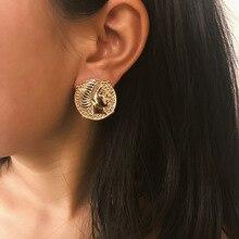 Vintage Palace Embossed Portrait Stud Earrings for Women Fashion Luxury Modern Jewelry Accessories Female Gifts Oorbellen