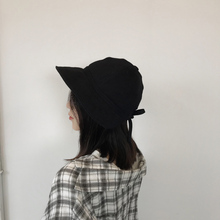 Women Summer hat Concise Casual Solid Color Folding Soft Breathable Sunscreen Bucket Hat