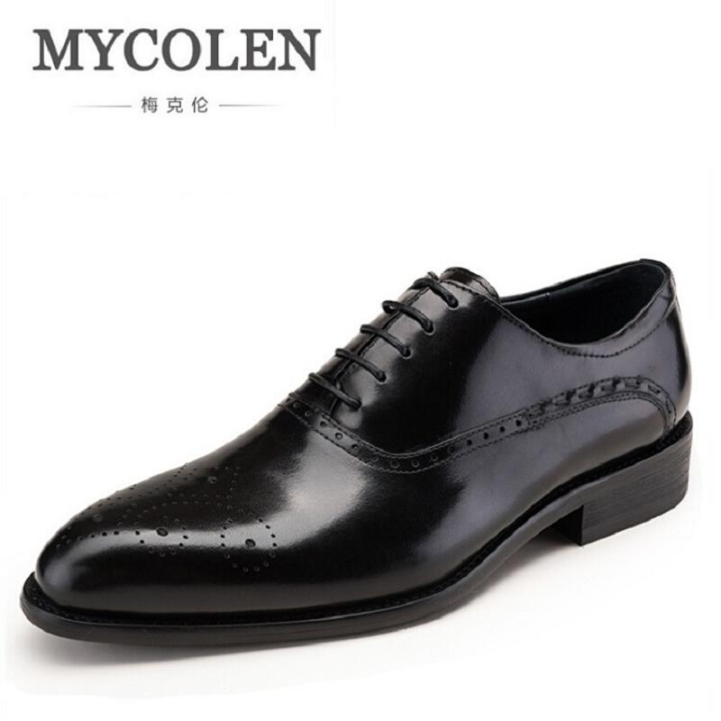 MYCOLEN Fashion Leather Men Dress Shoes Pointed Toe Bullock Oxfords Shoes For Men Designer Fashion Luxury Men's Brogues Shoes qffaz new fashion mens formal dress shoes pointed toe genuine leather bullock oxfords shoes lace up designer luxury men shoes