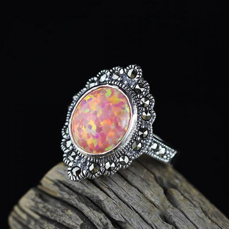 Guaranteed 925 Sterling Silver Jewelry Vintage Red Fire Opal Rings For Women Oval Shape Gemstone Ring Luxury Jewelry