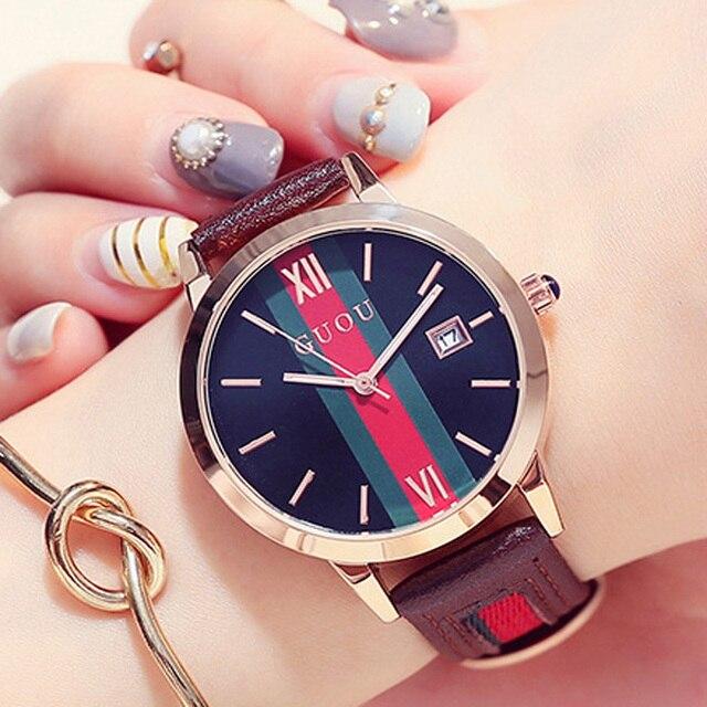 GUOU 2018 Women's Watches Luxury Ladies Bracelet Watch For Women Genuine Leather