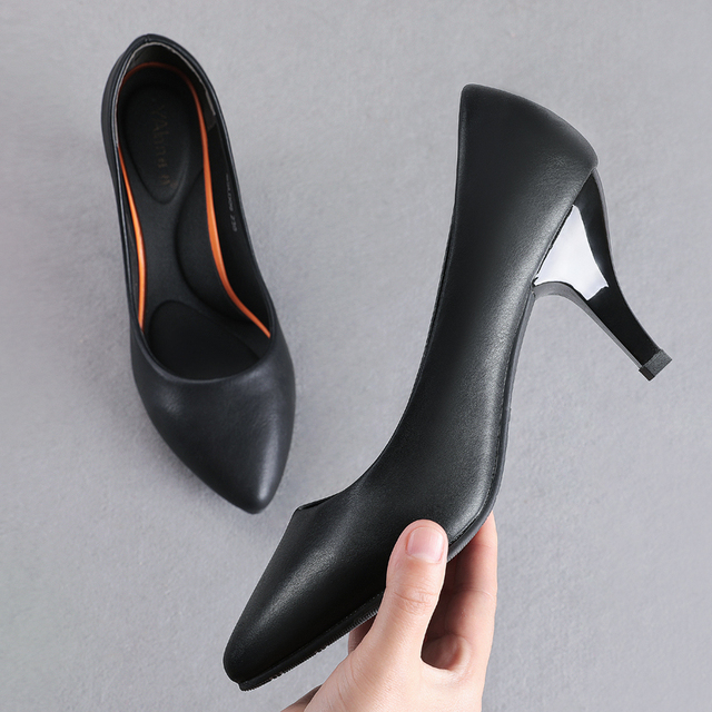 YALNN High Heels Black Fashion Women Pums Mature Casual Woman Spring/Autumn Pumps Girls Shoes Party Pointed Toe Thin High Heels