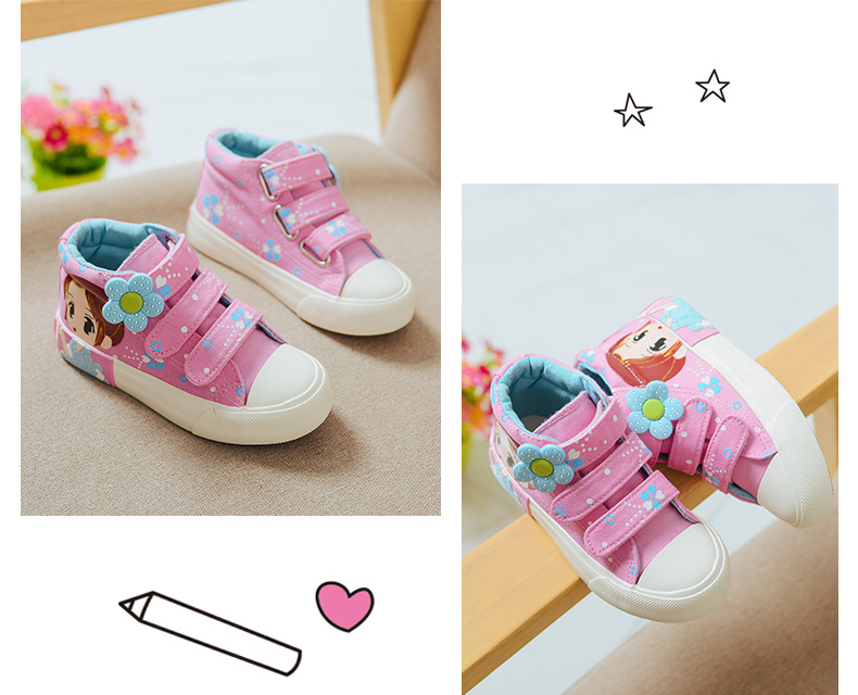 19 Spring Autumn Children Canvas Shoes Girls Fashion Sneakers 3 Colors High Baby Casual Shoes Breathable Princess Shoes 4