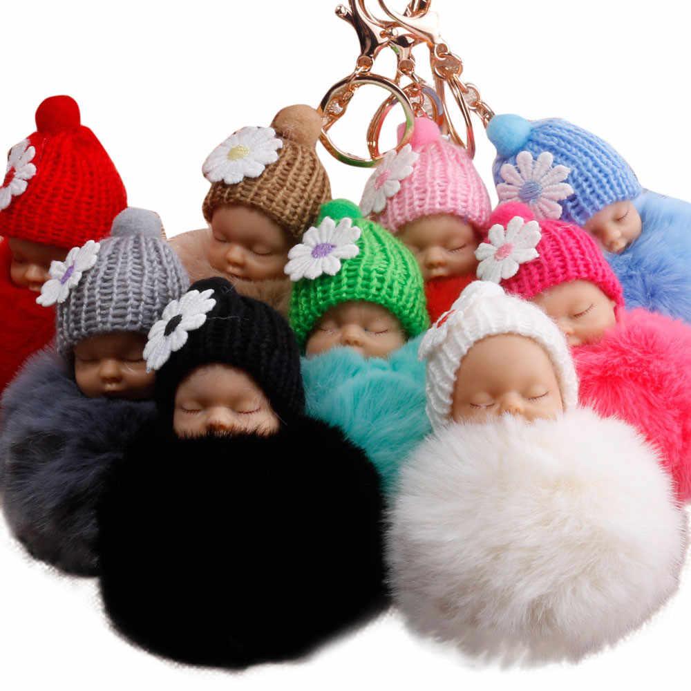 Bonito Pele PomPom Fofo Sacos de Dormir Baby Doll Chaveiro Chaveiros Charme Pingente Corrente Chave Bonita