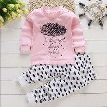 2pcs Autumn Winter Baby Girls Clothes Cartoon Long-Sleeve T-Shirt + Pant Suit Girls Clothing Set Children Clothing стоимость