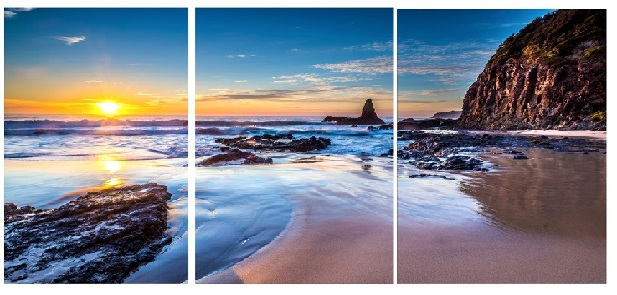 3 pcs Canvas Prints Sunset Beach Modern Canvas Art Cuadros Decor Landscape Canvas Prints Pictures for Living Room Wall Unframed