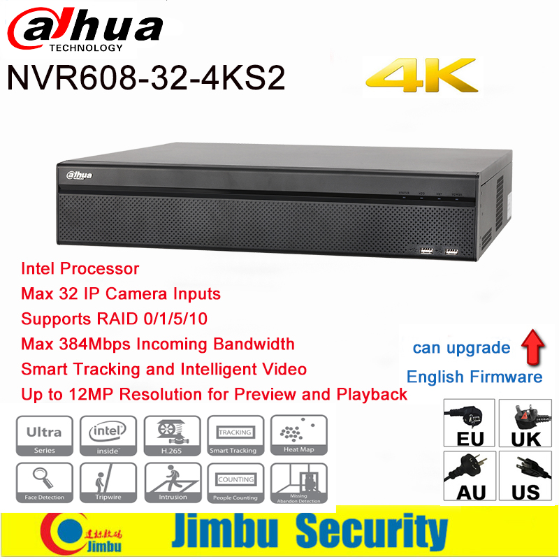 Dahua NVR 4K 32 Channel video recorder NVR608-32-4KS2 Ultra 4K H.265 Video Recorde Intel Processor Up to 12MP Resolution dahua nvr616r 128 4ks2 128 channel ultra 4k h 265 network video recorder nvr free shipping