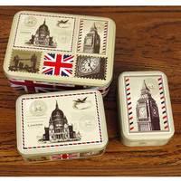 Contenitore di Caramella di Disegno della Bandiera britannica Inghilterra caso di Immagazzinaggio Big Ben Stampa cassa del Ferro del Metallo di Stile Torta scatola 3 pz/set