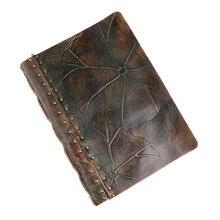 100% جلد طبيعي اليدوية a4 خمر الرجعية السفر مجلة يوميات المفكرة هدية عيد ميلاد BJB55