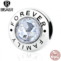 VOROCO New Arrival Classic 925 Sterling Silver Family Forever Clear CZ Bead Charm Fit Charms Bracelets