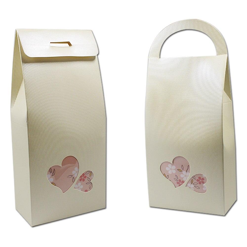30pcs 11*23+5cm Kraft Paper Gift Box Heart Shape Clear Window With ...