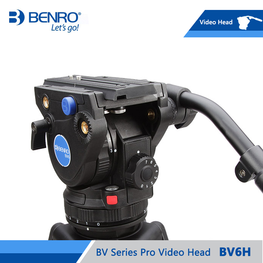 BENRO BV6H Video Head Hydraulic Fluid Video Heads QR13 Quick Release Plate Aluminum Video Head Max Loading 6kg DHL Free Shipping