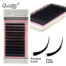 Qeelasee Новые матовые плоские ресницы для наращивания индивидуальная норка 0,15 0,20 мягкие ресницы, плоские раздельные наконечники осветляющие объем