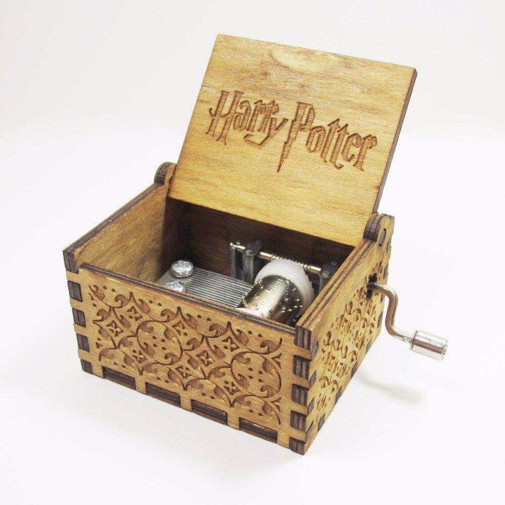 Antiken geschnitzten holz harry potter musik box, Weihnachten geschenk, neue jahr geschenk, geburtstag geschenk freund angepasst kostenloser versand