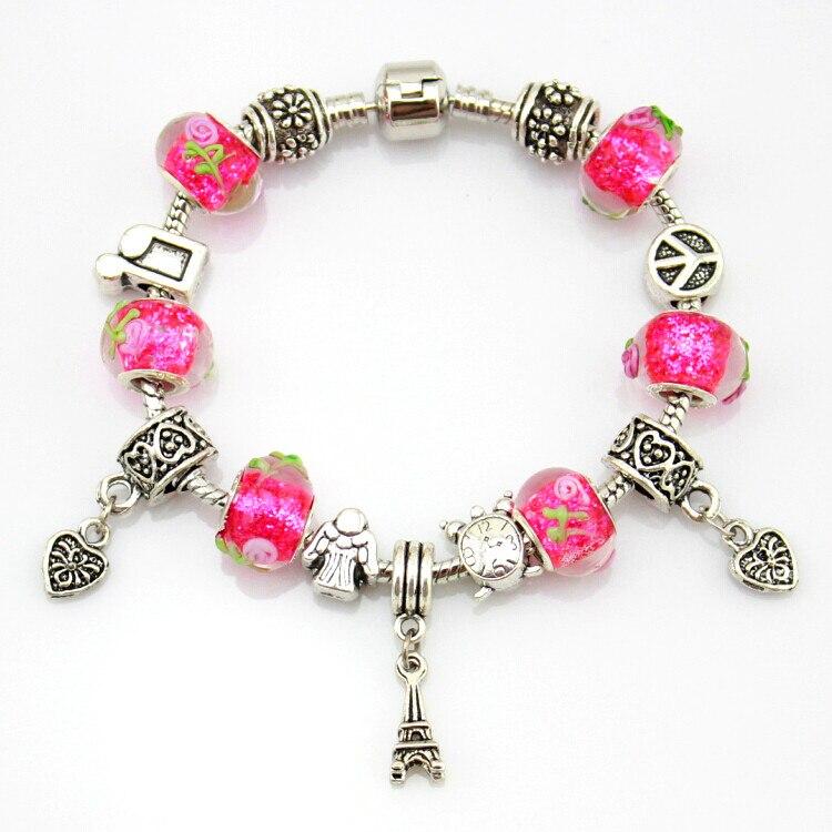 MPB Chapado en plata Pulsera del encanto para las mujeres Cadena de serpiente y cuentas de cristal de Murano pulsera de la marca
