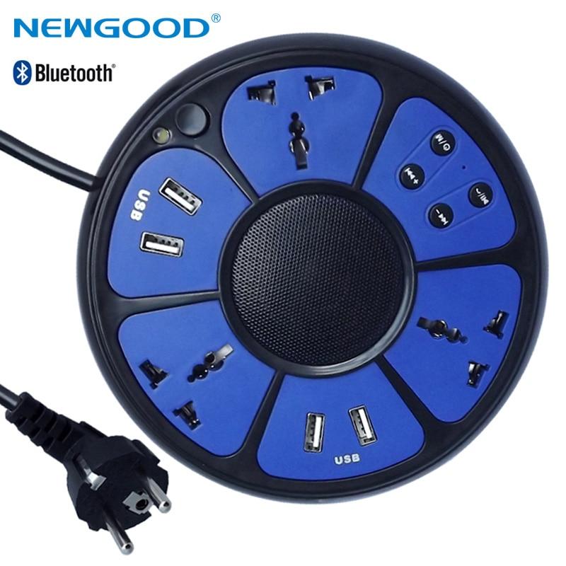все цены на Smart Power Round Plug Electrical Socket AU Extension Power Socket outlet Bluetooth Bass Speaker 5 Ports Accept EU US AU Socket онлайн