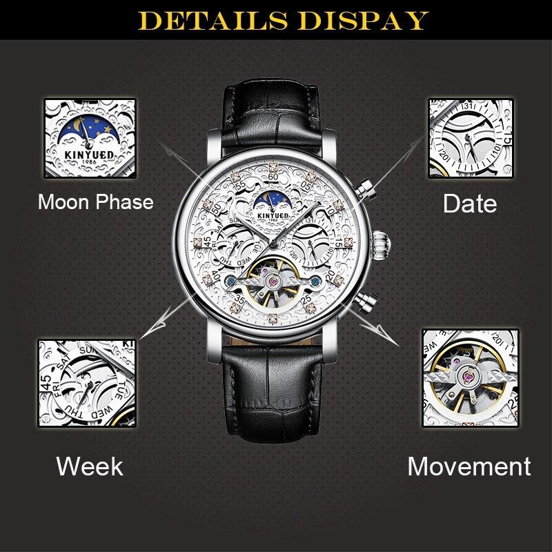 KINYUED hommes montre automatique lune Phase calendrier Tourbillon hommes squelette montres mécaniques or cuir montre-bracelet militaire - 4