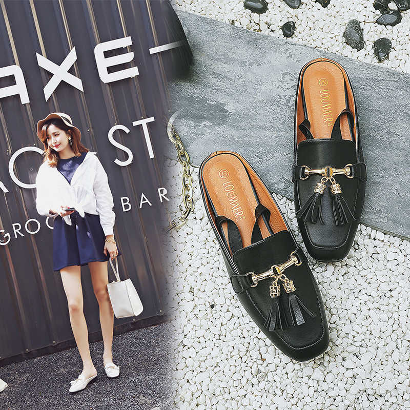 Plus di dimensione donna muli scarpe 40 41 42 grande formato sandali catene nappa fibbia in metallo disegno pantofole punta quadrata cinghia posteriore muli