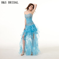 H S BRIDAL Sweetheart Crystal Beaded Homecoming Dresses 2017 Organza Sexy Prom Party Dresses