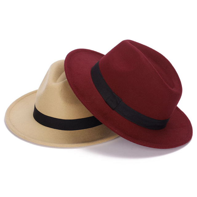 38099b55cc0 HT1224 New Fashion Women Men Fedora Hat Wide Brim Jazz Church Cap Vintage  Panama Sun Top Hat Unisex Solid Red Grey Wool Felt Hat