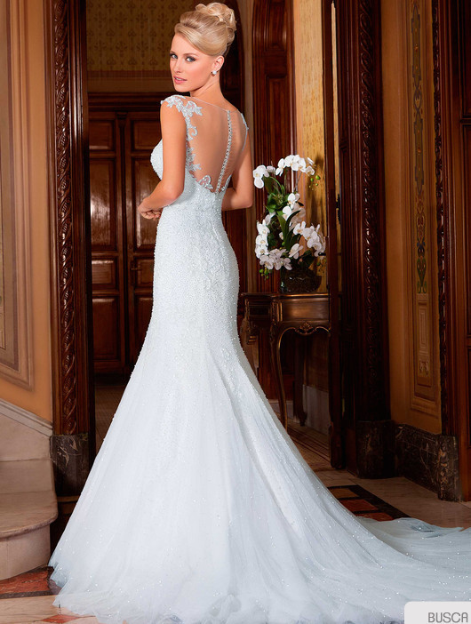 Vestido-de-noiva-New-Design-Sheer-Neck-Cap-Sleeve-Mermaid-Appliques-Beading-Court-Train-Tulle-Wedding (2)