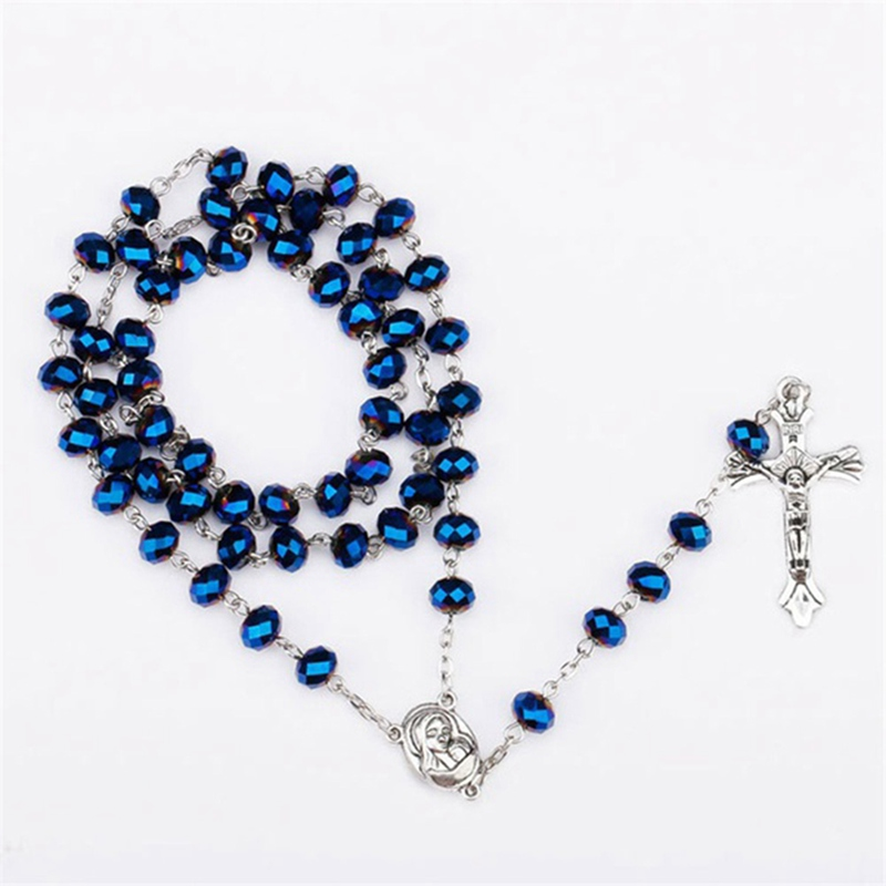 18 Inch Rhodium Plated Necklace w// 6mm Blue December Birth Month Stone Beads and Saint Bonaventure Charm