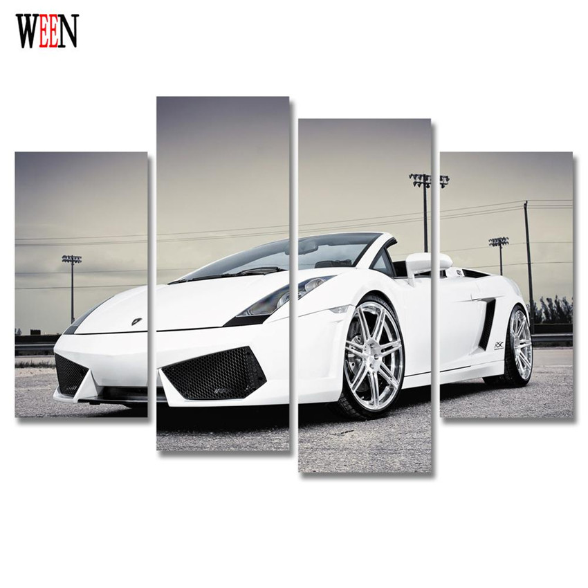 ween sports car canvas art 4pcs modern airplane wall pictures painting for home decorative poster printed