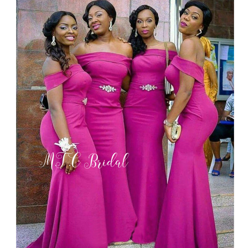 Simple Light Purple   Bridesmaid     Dresses   Off The Shoulder Boat Neck Mermaid Crystal Belt Long Wedding Party Gowns Cheap 2019 New
