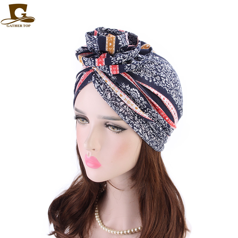 New fashion Elegant 3D Flower Turban Women Cancer Chemo Beanies Caps Muslim Turbante Party Hijab   Headwear   Hair accessories