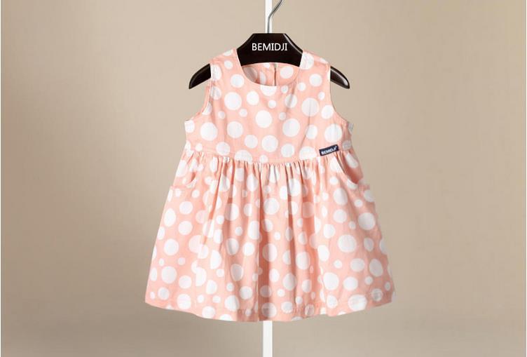 2016 Summer dress princess children sleeveless cotton Baby Girl Dress Lovely Polka Dot Vestidos Infant Clothing newborn dress