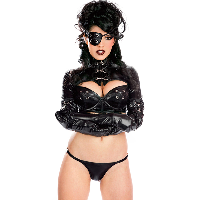 New Arrival Sexy Gothic Leather Lingerie Costume for Women Nightclub Clothing Erotic Vinyl Long Sleeve Crop Top G String