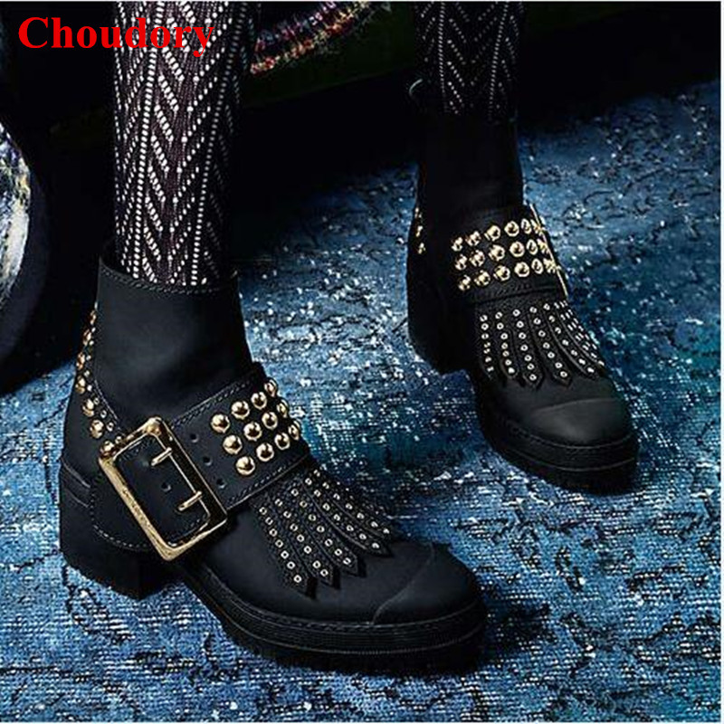 Luxury Black Whitchester Studded Leather Buckle Boots Fashion Women Runway Round Toe Eyelet-trimmed Gold Rivets Ankle Boot Shoes yanicuding round toe women flock ankle booties metal short boots zip design luxury brand fashion runway star autumn shoes flats