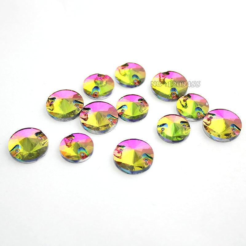 Цвета радуги круглые / капли стекло стразы хрустальные бусины плоские задние шить на камни для одежды, обуви, украшения сумки