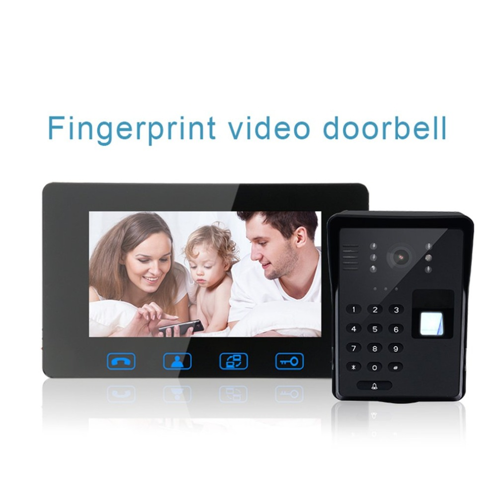 Wifi Fingerprint Video Doorbell 7 inch Wireless door bell camera video-eye door viewer Intercom 2.4GHz Digital Door Phone system yobangsecurity wifi wireless video door phone doorbell camera system kit video door intercom with 7 inch monitor android ios app