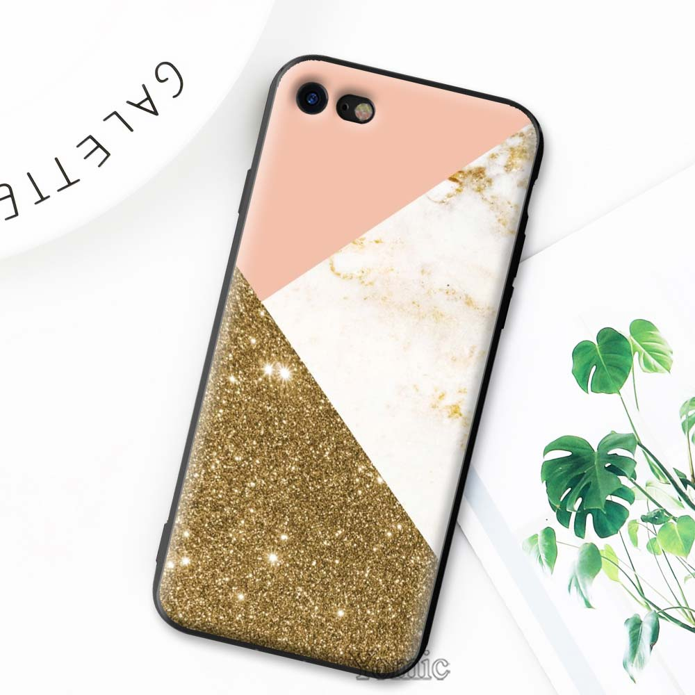 gold marble collage print Soft Phone Case for Apple iPhone 7 8 Plus X XR XS MAX Cases for iPhone 6 6s Plus 5S SE Case Coque in Fitted Cases from Cellphones Telecommunications