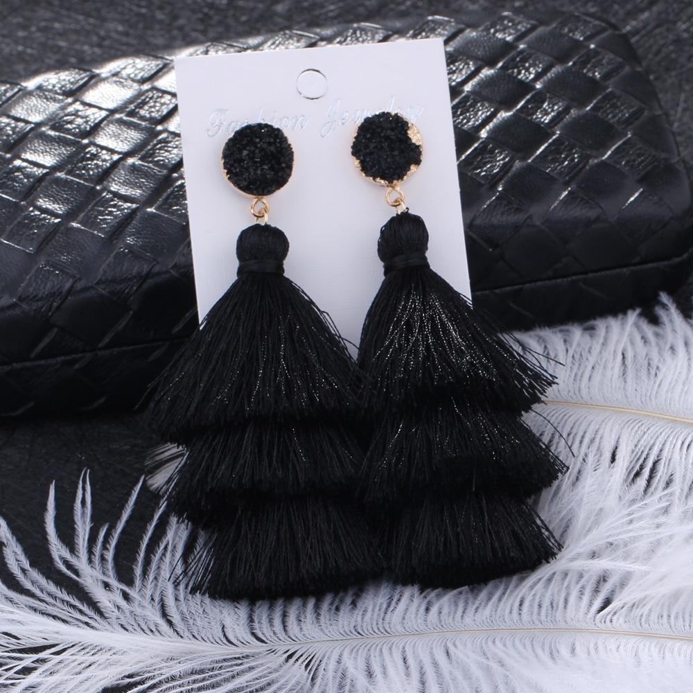 HOCOLE Boho Long Tassel Earrings Multi layer Red Blue Yellow Silk Fabric Long Drop Earring For Women Wedding Statement Jewelry in Drop Earrings from Jewelry Accessories
