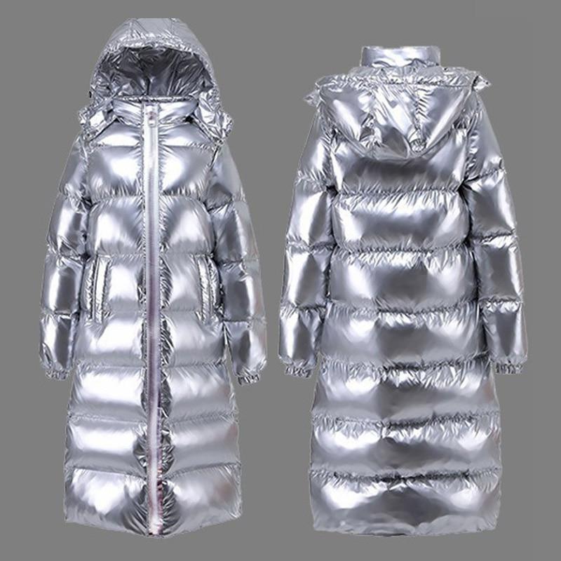 Argent Veste Femme Long Manteau D'hiver grande taille parka à capuche Femelle Mince Usure De Neige De Mode 2019 Coton Épais vêtements d'extérieur chauds Okd674