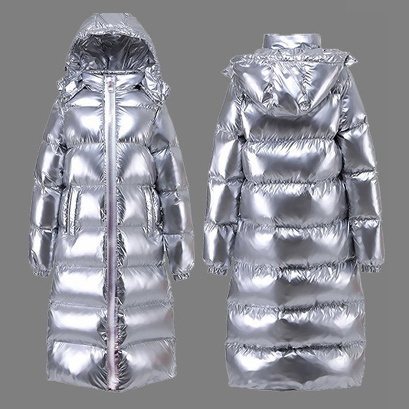 Silver Jacket Woman Long Coat Winter Plus Size Hooded   Parka   Female Slim Snow Wear Fashion 2019 Cotton Thick Warm Outwear Okd674