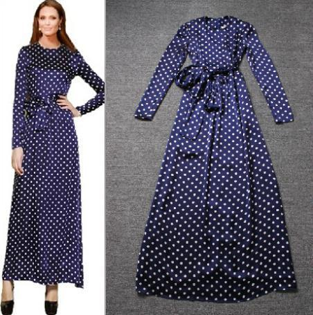 3a55cbdf4a8b8 Vestidos Vintage Plaid Women Dress Elegant Polka Dot Maxi Winter Dress  Ladies Stain Long Dresses Woman Clothing L32