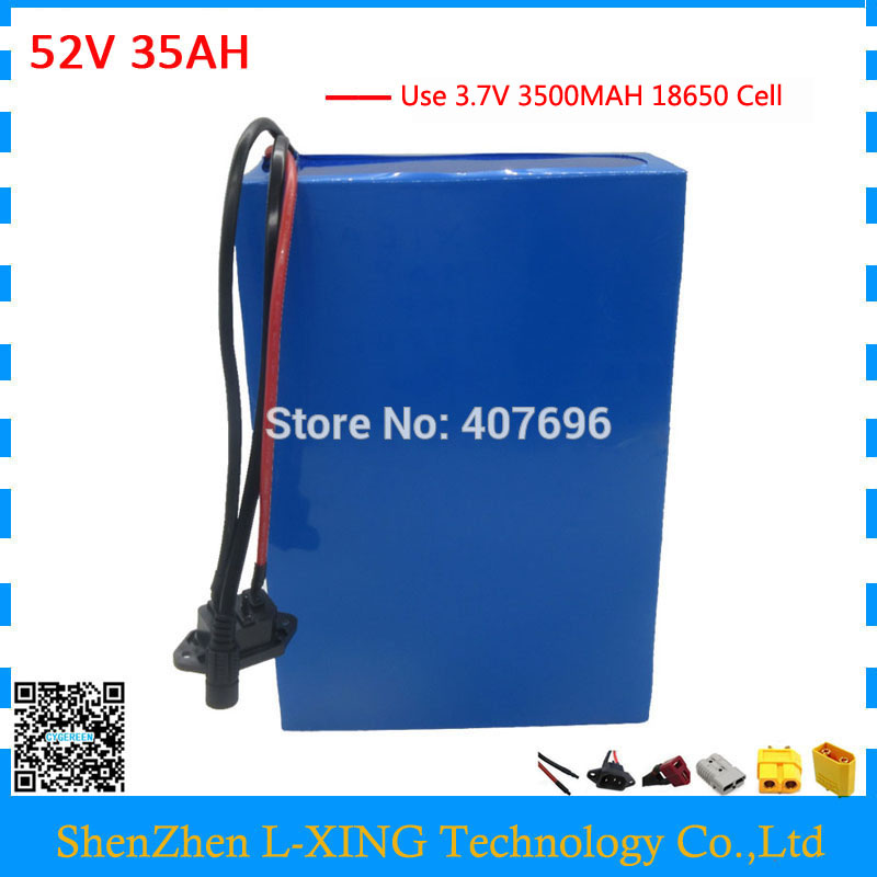 2500W 52V 35AH Electric bike battery pack 51.8V lithium ion scooter battery use for samsung 3500mah cell 50A BMS with 4A Charger2500W 52V 35AH Electric bike battery pack 51.8V lithium ion scooter battery use for samsung 3500mah cell 50A BMS with 4A Charger