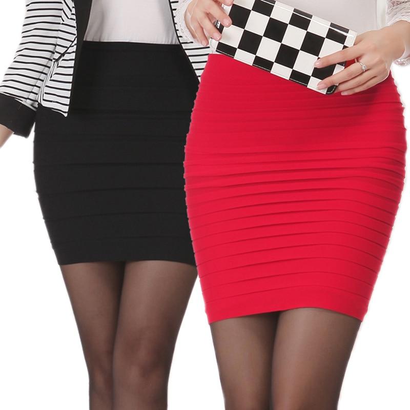 New Summer Women Black High Waist Tight Office Skirt Slim Casual Package Hip Skirt Good Elastic Lady Mini Sexy Pencil Skirts