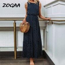 ZOGAA HOT Summer Dress 2019 Beach Women Ladies Dot Printing Round Neck Sleeveless Evening Party Long Vestidos Robe