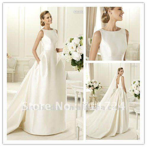 New Arrival Satin High Neck Low Back Wedding Dresses